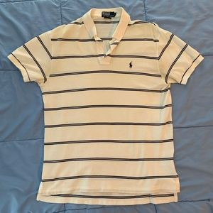 Ralph Lauren Black and White Striped Polo - Large